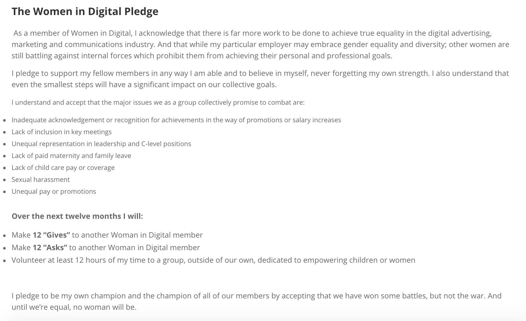 Women in Digital Pledge