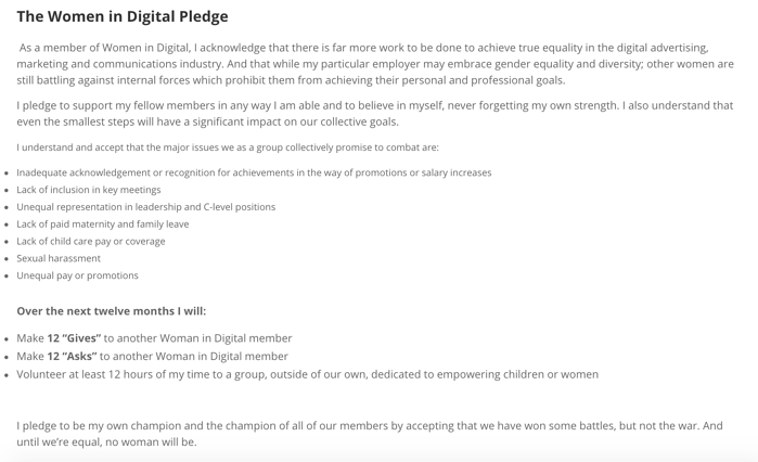 Women in Digital Pledge