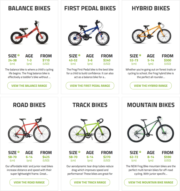 cycling bikes for kids frog bikes